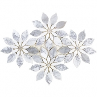 Soho Studio MJ Rain Flower-White Carrara, White Thassos and White Carrara Floral Tile- MJRNFLRWTCRTHS