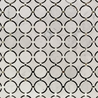 Soho Studio MJ Vision Halo White Carrara w/ Nero Glass Circles Mirror Tiles Tile- MJVISHALOCARNR