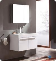 Fresca Vista White Modern Bathroom Vanity w/ Medicine Cabinet