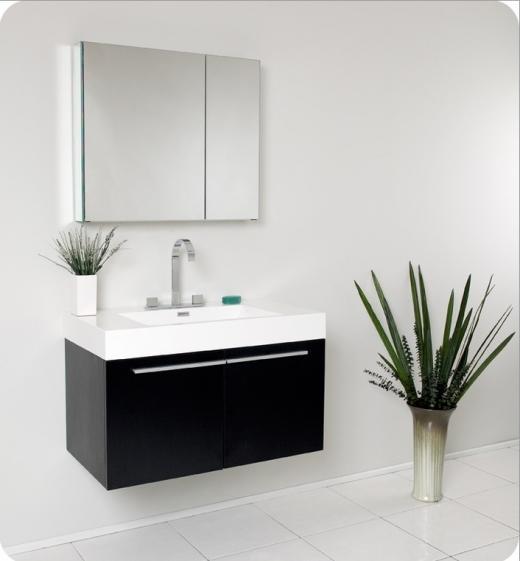 Fresca Vista Black Modern Bathroom Vanity w/ Medicine Cabinet