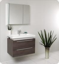 Fresca Medio Gray Oak Modern Bathroom Vanity w/ Medicine Cabinet