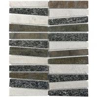 Soho Studio Vision Trapezoid Black, White and Quartz Stacked Tile- VISTRPZBLWHMLQZ