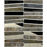Soho Studio Vision Trapezoid Multicolored Quartz w/ Antique Mirror Stacked Tile- VISTRPZMLQZANMR
