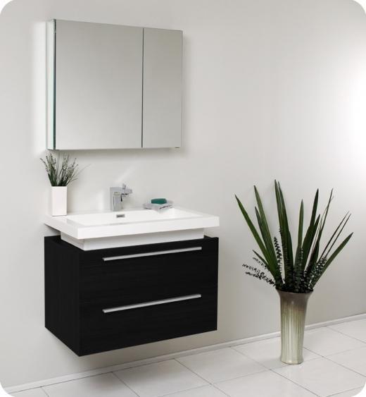 Fresca Medio Black Modern Bathroom Vanity w/ Medicine Cabinet