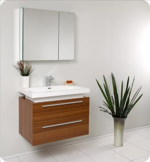 Fresca Medio Teak Modern Bathroom Vanity w/ Medicine Cabinet