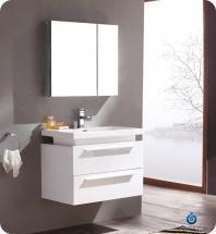 Fresca Medio White Modern Bathroom Vanity w/ Medicine Cabinet