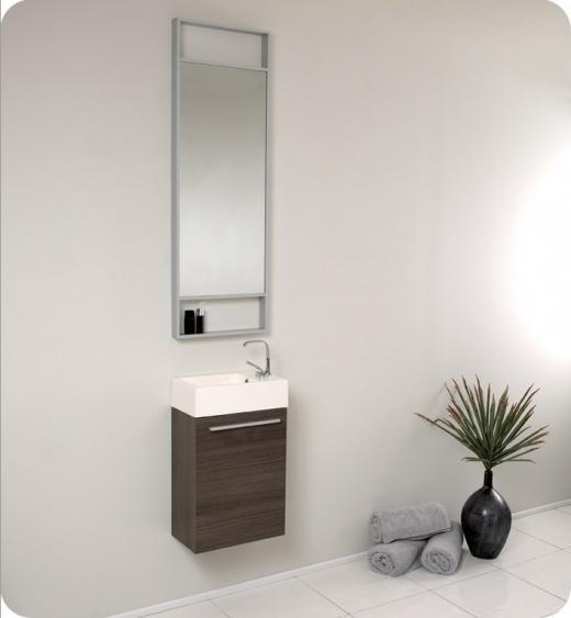 Fresca Pulito Small Gray Oak Modern Bathroom Vanity w/ Tall Mirror