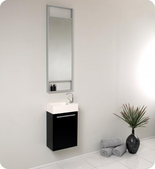 Fresca Pulito Small Black Modern Bathroom Vanity w/ Tall Mirror