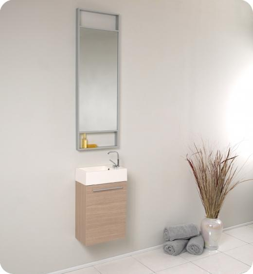 Fresca Pulito Small Light Oak Modern Bathroom Vanity w/ Tall Mirror