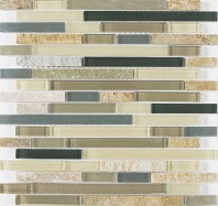 Merola Vetro Marmi Beach Wave Random Linear Interlocking Tile G-250