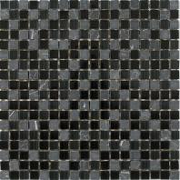 Merola Vetro Marmi Glass 5/8x5/8 Black Tile G-283