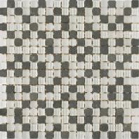 Merola Vetro Marmi Glass 5/8x5/8 Black & White Tile G-281