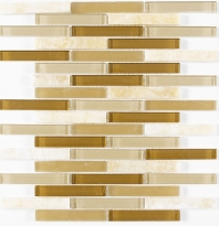 Merola Vetro Marmi Glass brick Beige Interlocking Tile G-299