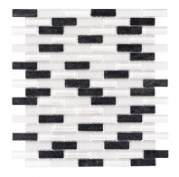 Merola Vetro Marmi Glass brick Black & White Interlocking Tile G-259