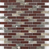 Merola Vetro Marmi Glass brick Burgundy Interlocking Tile G-105