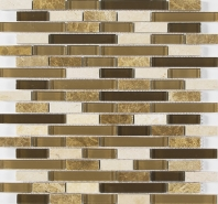 Merola Vetro Marmi Glass brick Cappuccino Interlocking Tile G-101