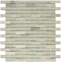 Merola Vetro Marmi Glass brick Mint Green Interlocking Tile G-287