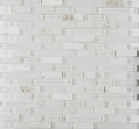 Merola Vetro Marmi Glass brick Carrara Interlocking Tile G-103