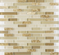 Merola Vetro Marmi Glass brick Latte Interlocking Tile G-104