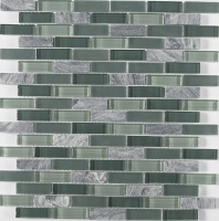 Merola Vetro Marmi Glass brick Grey Mystique Interlocking Tile G-285
