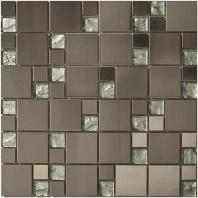 Merola Vetro Marmi Mixed Square Metal & Sand Metallic Tile G-257