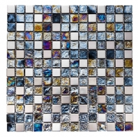Merola Vetro Marmi Mixed Square Ocean Blue & Stainless Steel Tile G-289