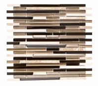 Merola Vetro Marmi Sleek Cappuccino Interlocking Tile G-256
