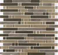 Merola Vetro Steel Mixed Brick Copper Steel Interlocking Tile G-305