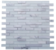 Merola Vetro Steel Mixed Brick Carrara & Steel Interlocking Tile G-320