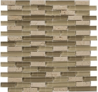 Merola Victoria Glass Mosaic Almond Interlocking Tile G-263