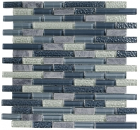 Merola Victoria Glass Mosaic Blue Interlocking Tile G-274