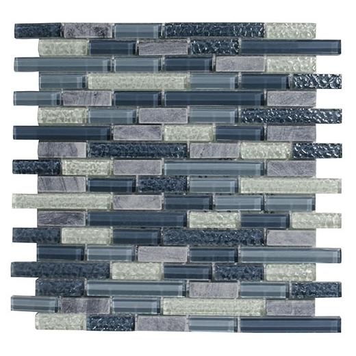 Merola Victoria Glass Mosaic Blue Interlocking Tile G-274