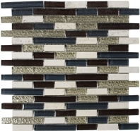 Merola Victoria Glass Mosaic Burgundy Interlocking Tile G-321