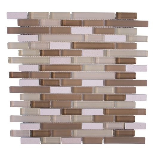 Merola Victoria Glass Mosaic Sand Interlocking Tile G-261