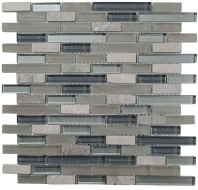 Merola Victoria Glass Mosaic Grey Interlocking Tile G-270