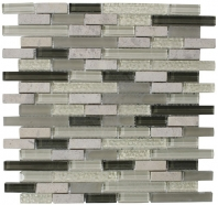 Merola Victoria Glass Mosaic Olive Interlocking Tile G-254