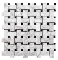 Merola Basketweave Carrara & Nero Nerquina Tile MER-BSKT-CAR-NERO