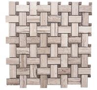 Merola Basketweave Wooden White & Athens Grey Tile MER-BSKT-WDN-WT