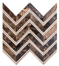 Merola Chevron Dark Emperador & Crema Marfil Tile MER-CHEV-DRK-EMP