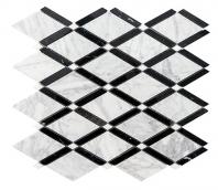 Merola Diamante Carrara & Nero Nerquina Tile MER-DIA-CAR-NERO