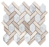 Merola Ladder Hex Cararra & Wooden White Tile MER-LHEX-CAR