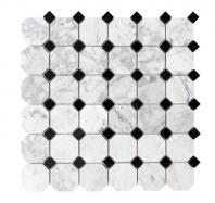 Merola Octagon Carrara & Black Tile MER-OCT-CAR-BLK
