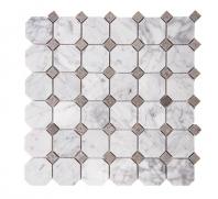 Merola Octagon Carrara & Grey Tile MER-OCT-CAR-GREY