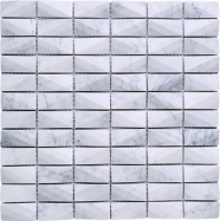 White Carrara 3D Cut Stacked Stone Mosaic Tile J3DCT1