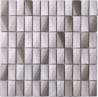 3D Stacked Stone Mosaic Tile Light Beige J3DCT3