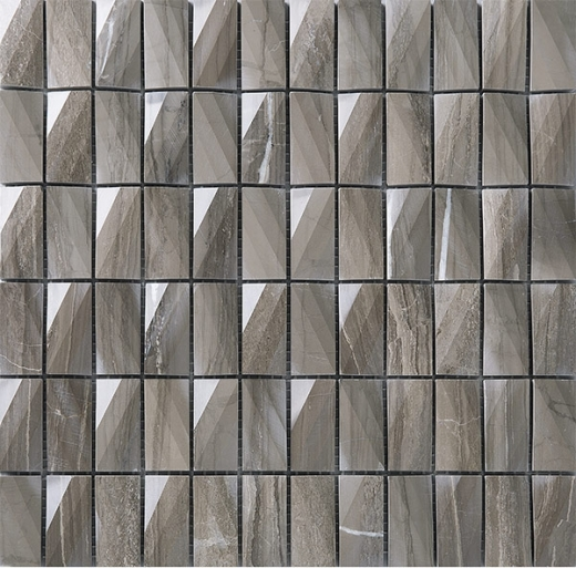 3D Stacked Stone Mosaic Tile Dark Beige J3DCT4