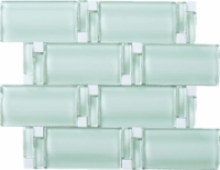 Wave Glass and Stone Brick Mosaic Tile Mint JBAM1