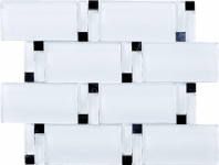 Wave Glass and Stone Brick Mosaic Tile White JBAM2