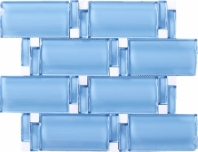 Wave Glass and Stone Brick Mosaic Tile Blue JBAM3