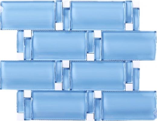 Wave Glass and Stone Brick Mosaic Tile Blue JBAM3